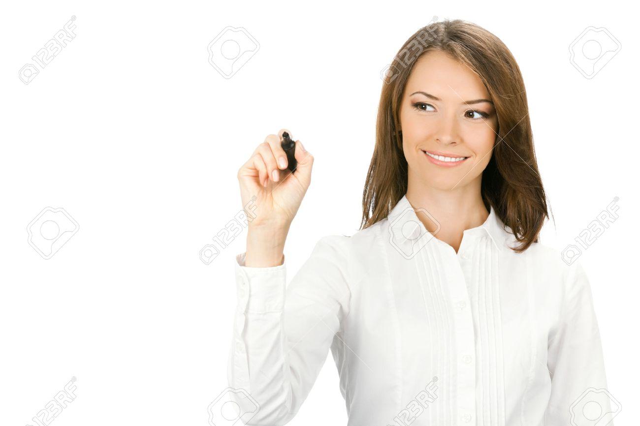 Bonne Femme Souriante Gaie Jeune Entreprise D Ecriture Ou De Dessin Sur L Ecran Avec Un Marqueur Noir Isole Sur Fond Blanc