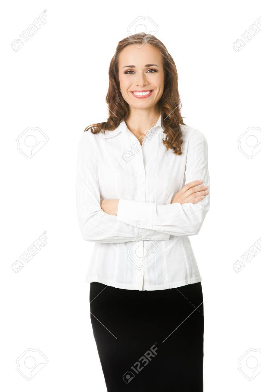 Portrait of happy smiling young business woman, isolated on white background Stock Photo - 10025007