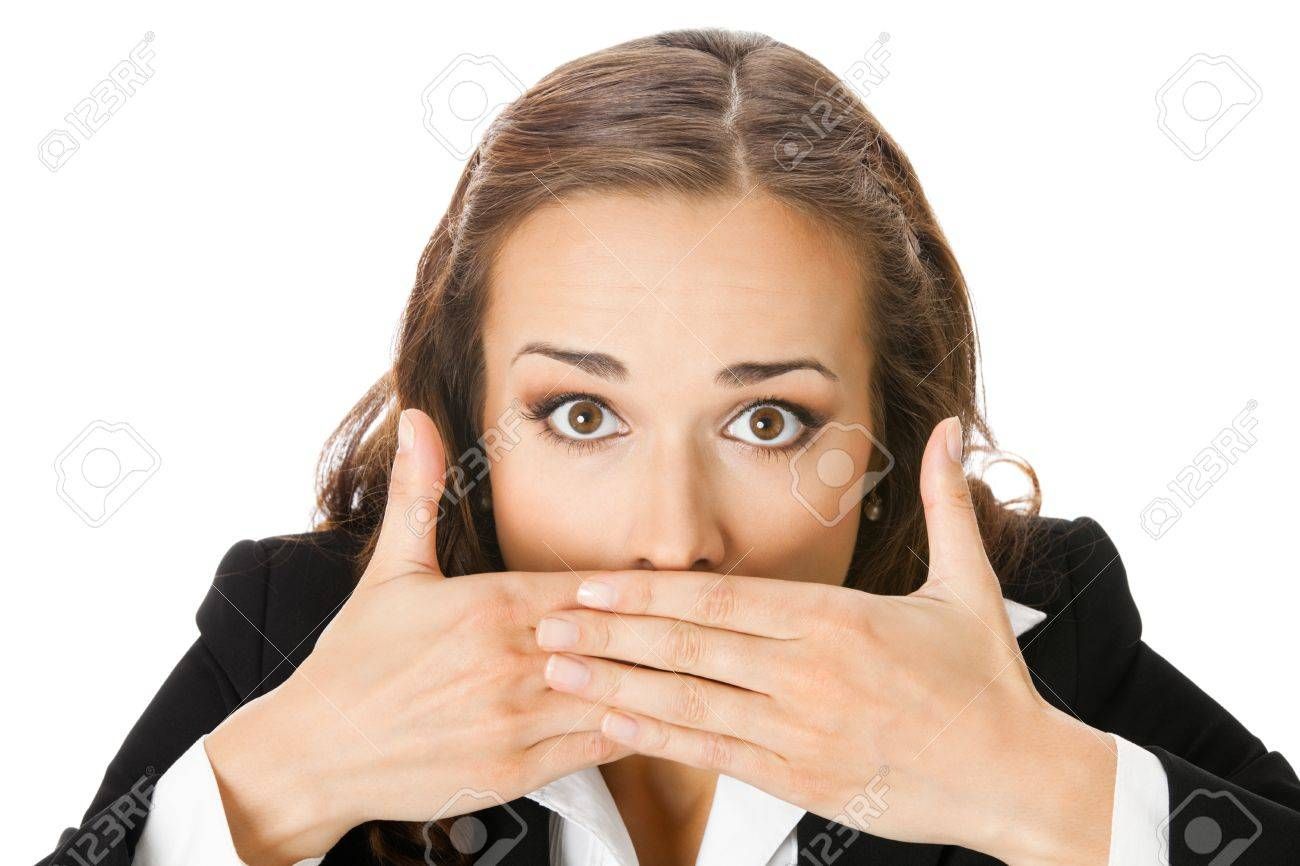 Portrait of surprised excited young business woman covering with hands her mouth, isolated on white background Stock Photo - 10024997