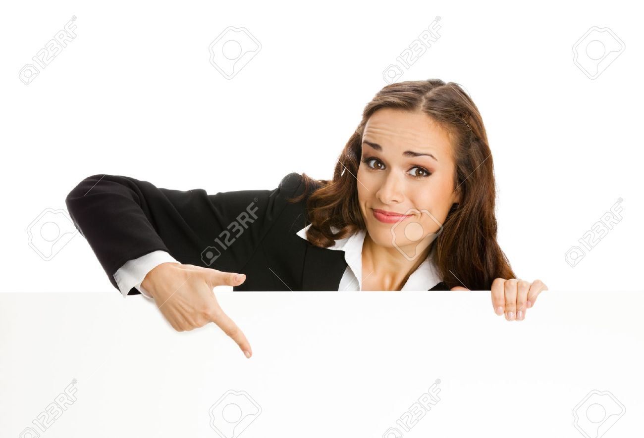 Happy smiling young business woman showing blank signboard, isolated on white background Stock Photo - 10025018