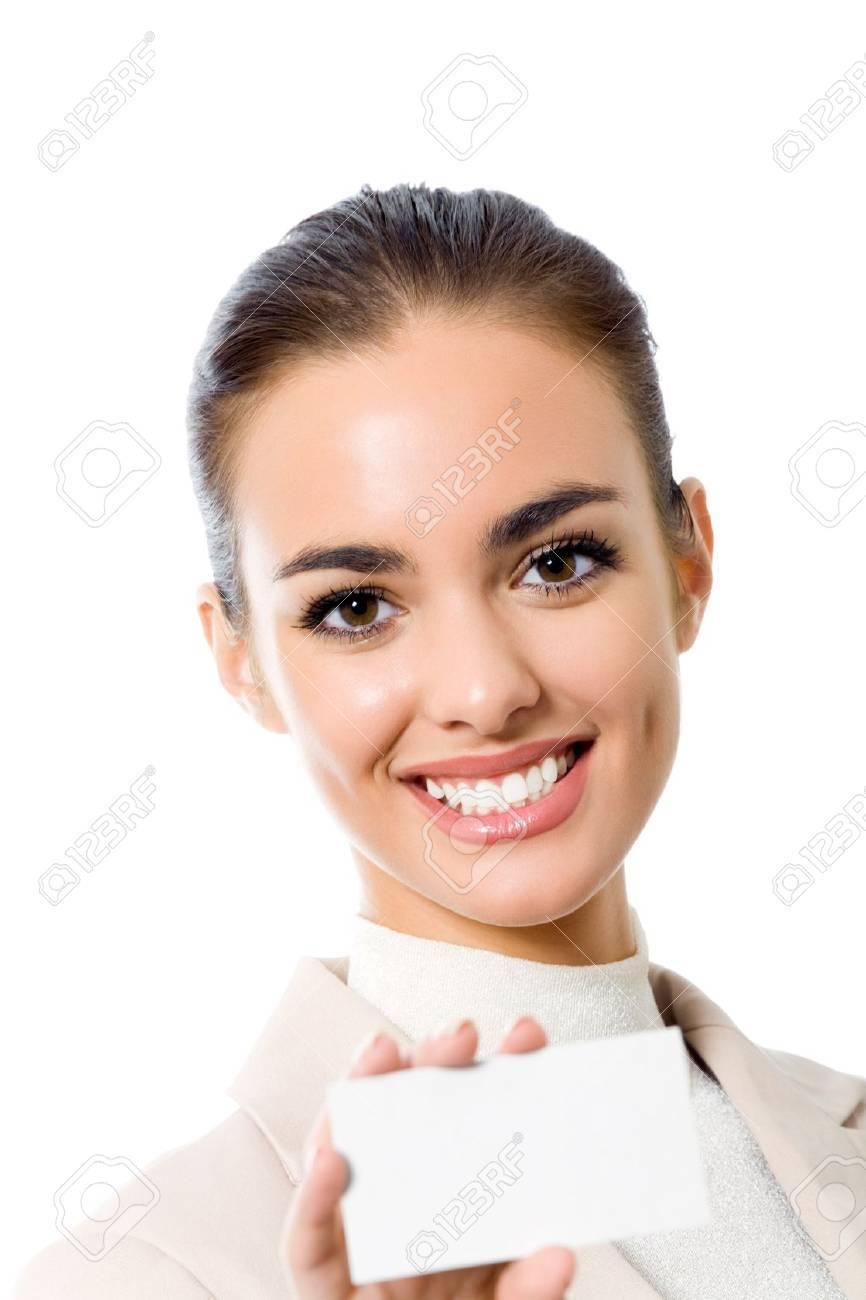 Bonne Femme Daffaires Souriante Avec Une Carte De Visite Vierge