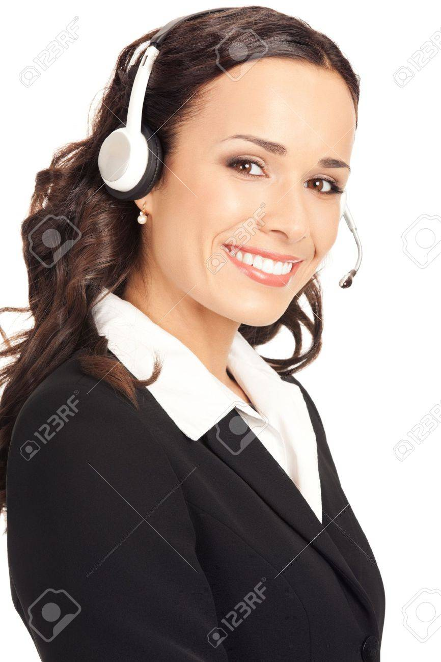 Portrait of happy smiling cheerful customer support phone operator in headset, isolated on white background Stock Photo - 10290963