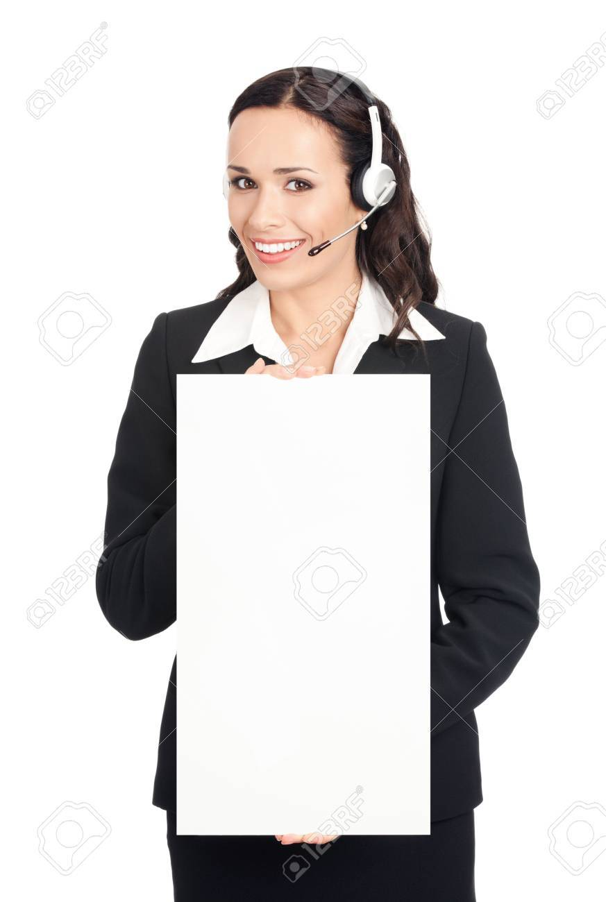 Happy smiling young customer support phone operator in headset showing blank signboard, isolated on white background Stock Photo - 10468197