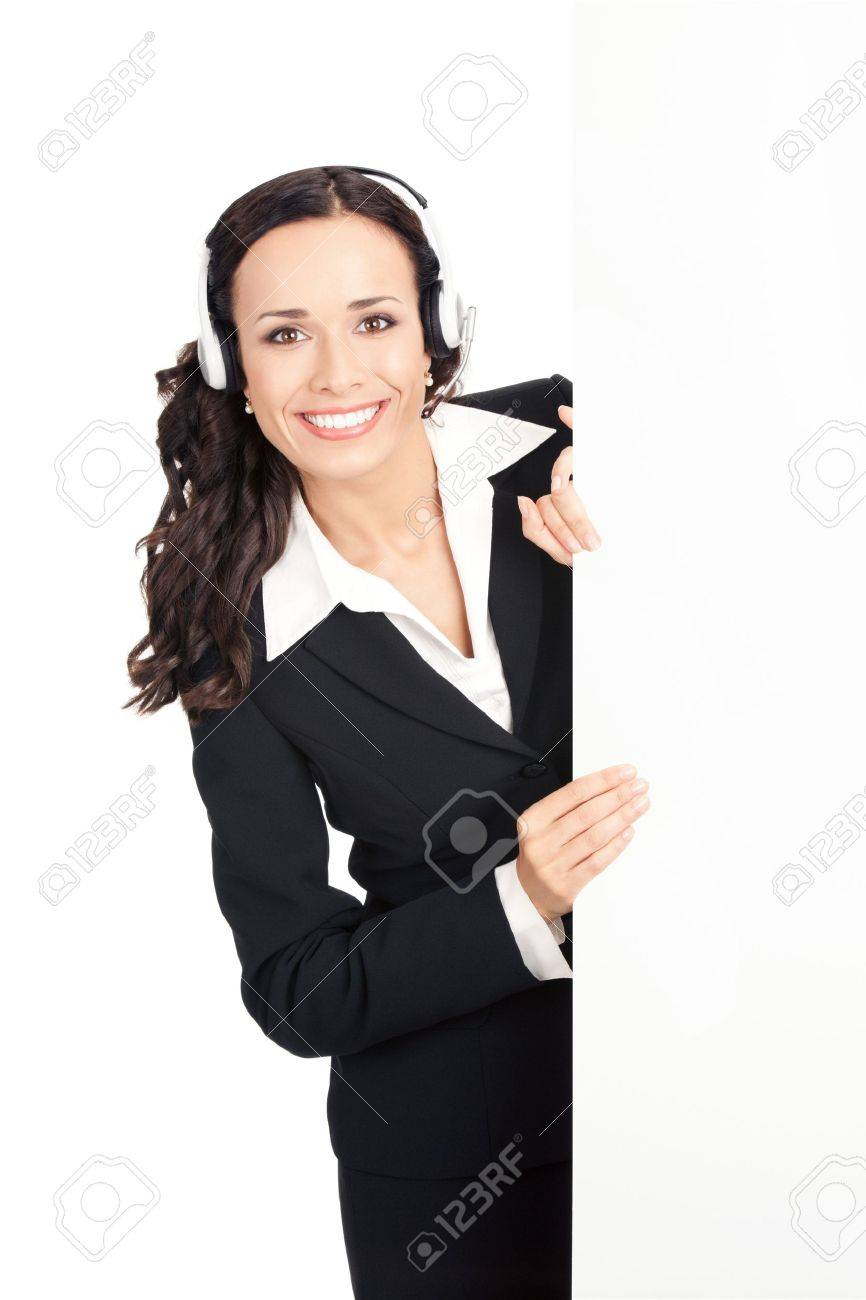 Happy smiling young customer support phone operator in headset showing blank signboard, isolated on white background Stock Photo - 10468167