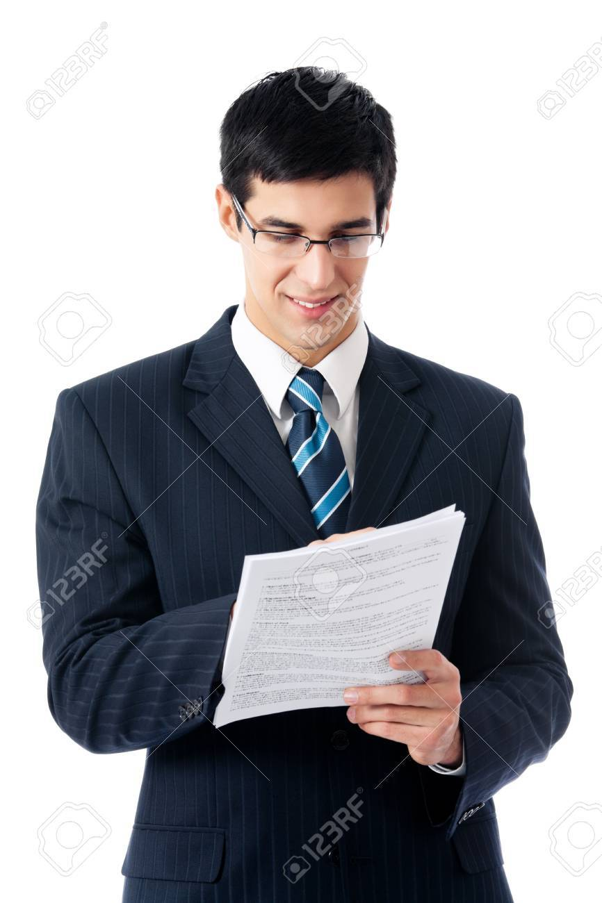 Happy smiling young business man showing document or contract, isolated on white background Stock Photo - 10611659