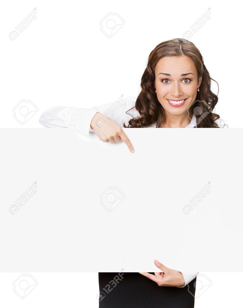 Happy smiling beautiful young business woman showing blank signboard, isolated over white background Stock Photo - 10754945