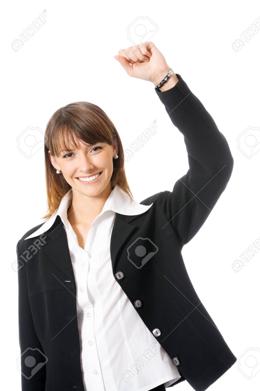 Happy gesturing young cheerful smiling business woman , isolated over white background Stock Photo - 10850584