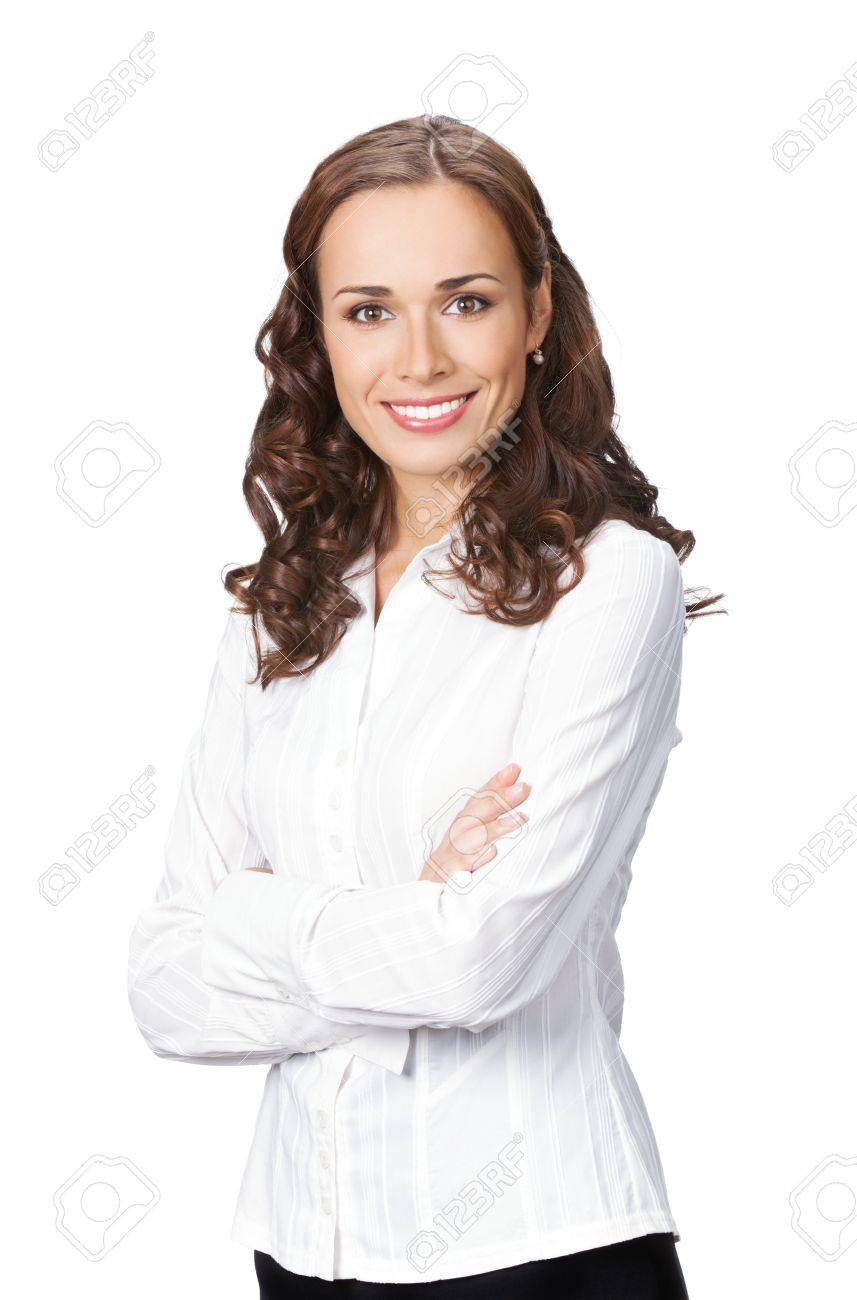 Portrait of happy smiling business woman, isolated on white background Stock Photo - 11872910