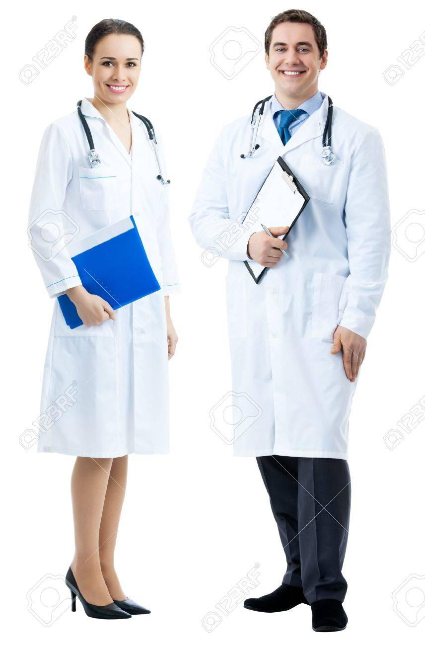 Full body portrait of two happy smiling young medical people, isolated over white background Stock Photo - 12234670