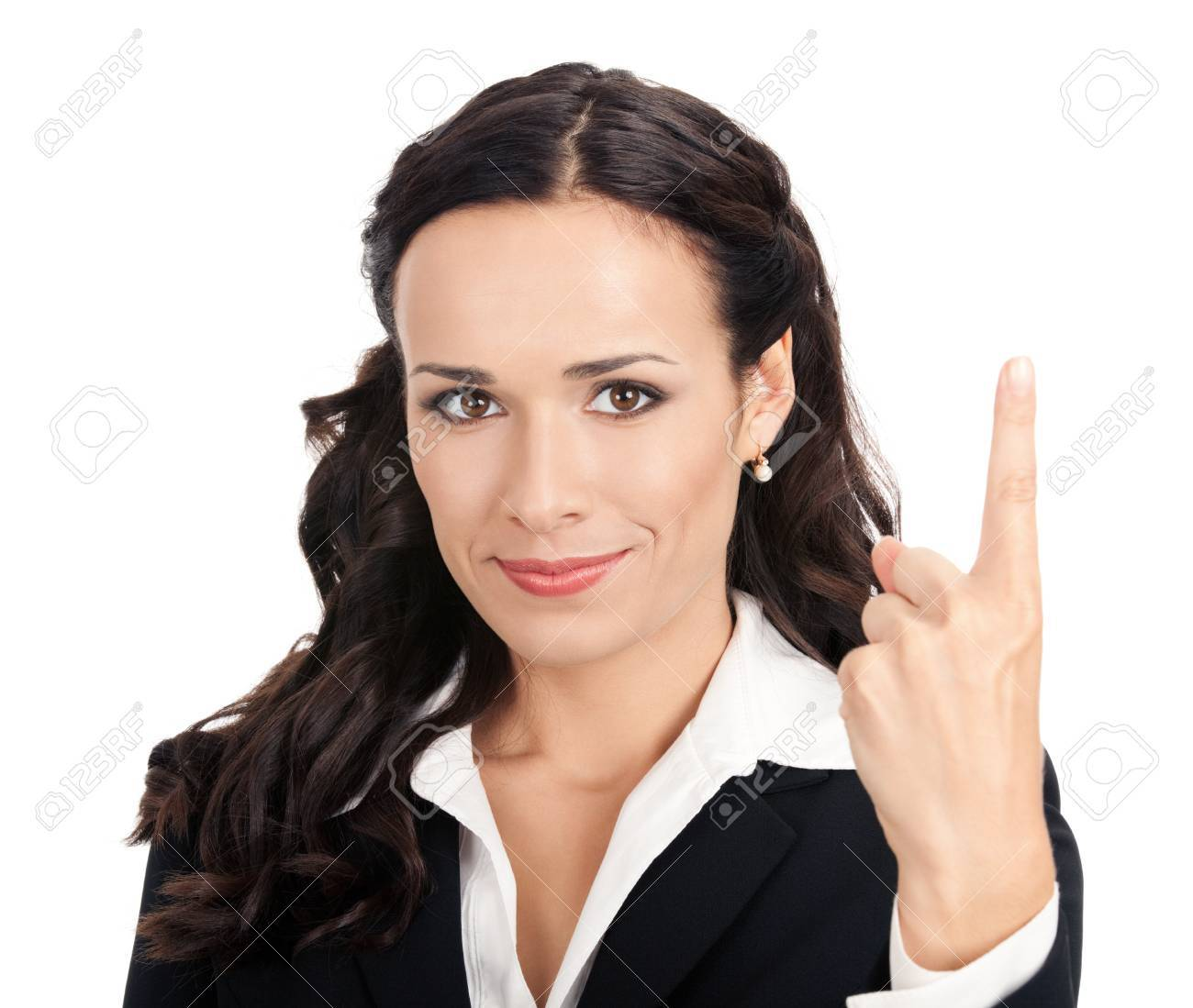 Happy smiling young business woman showing one finger, isolated over white background Stock Photo - 12586567