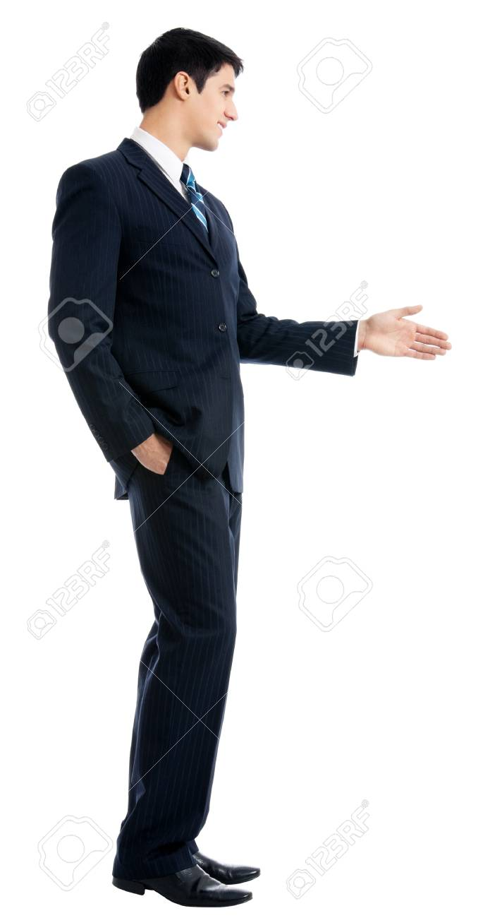 Full body of happy smiling young business man giving hand for handshake, isolated over white background Stock Photo - 12926802
