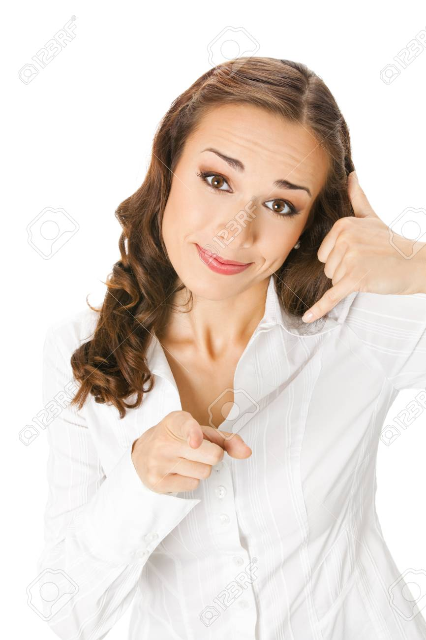 Young happy smiling business woman with call me gesture, isolated on white background Stock Photo - 12995571