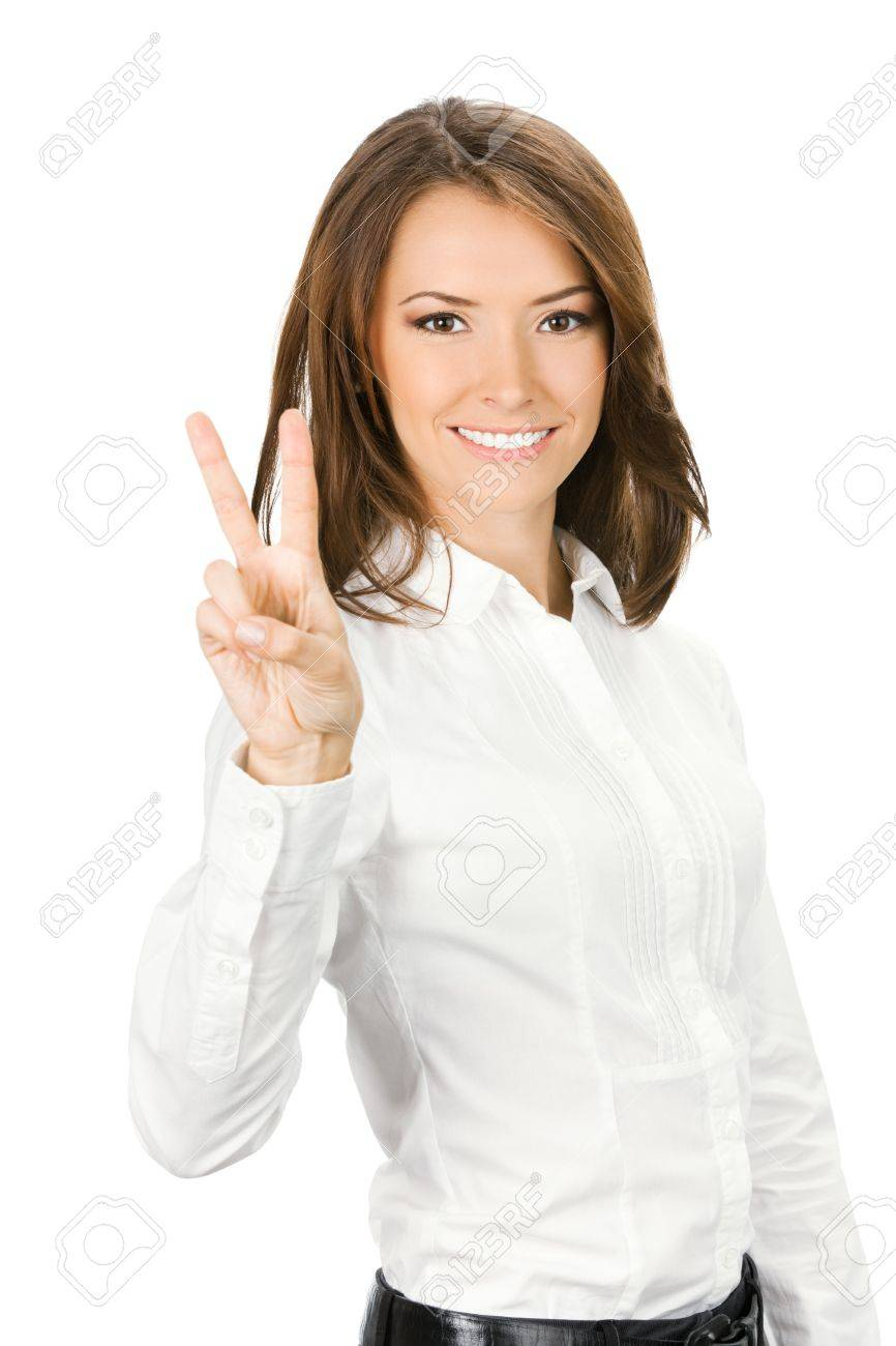 Happy smiling beautiful young business woman showing two fingers or victory gesture, isolated over white background Stock Photo - 13698553