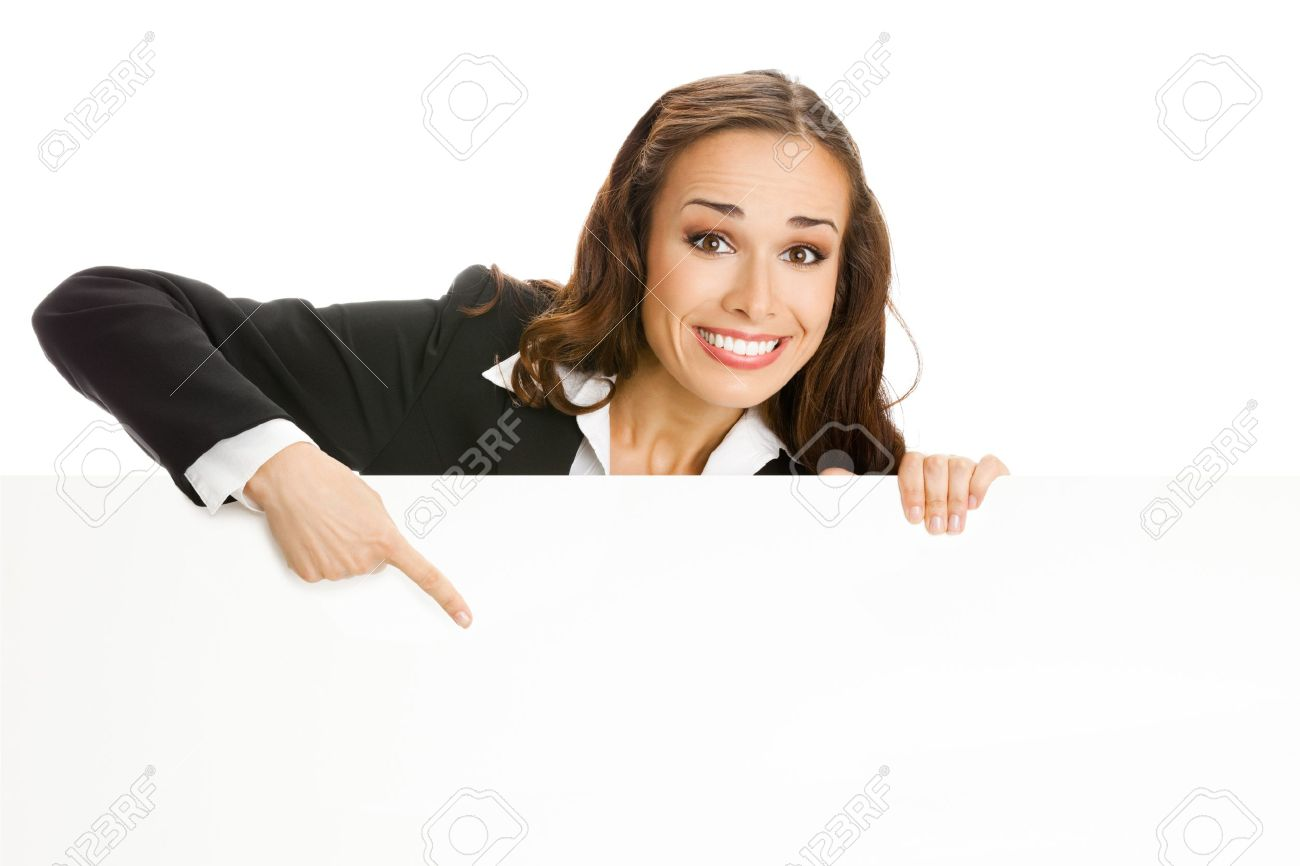 Happy smiling young business woman showing blank signboard, isolated over white background Stock Photo - 15187902
