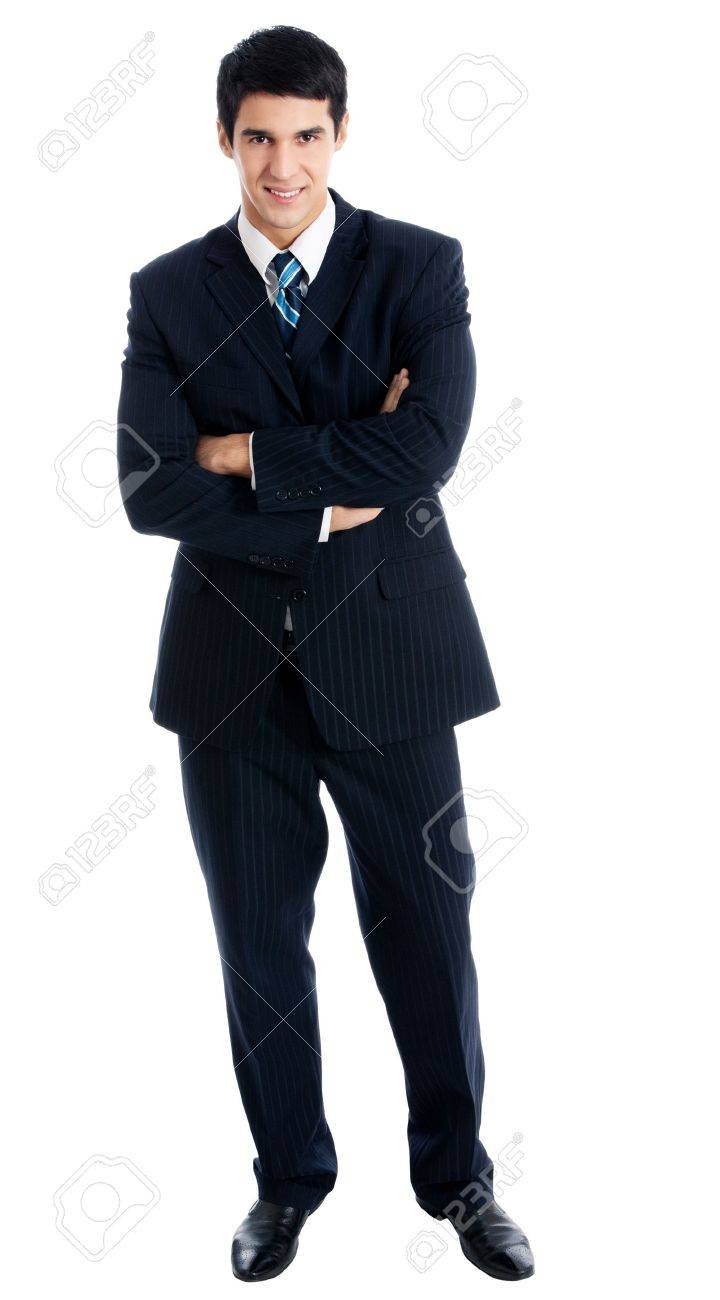 Full body portrait of young happy smiling cheerful business man, over white background Stock Photo - 14937117