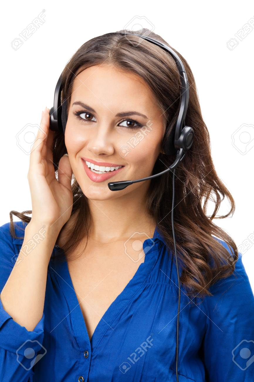 Portrait of happy smiling cheerful beautiful young support phone operator in headset, isolated over white background Stock Photo - 16674385