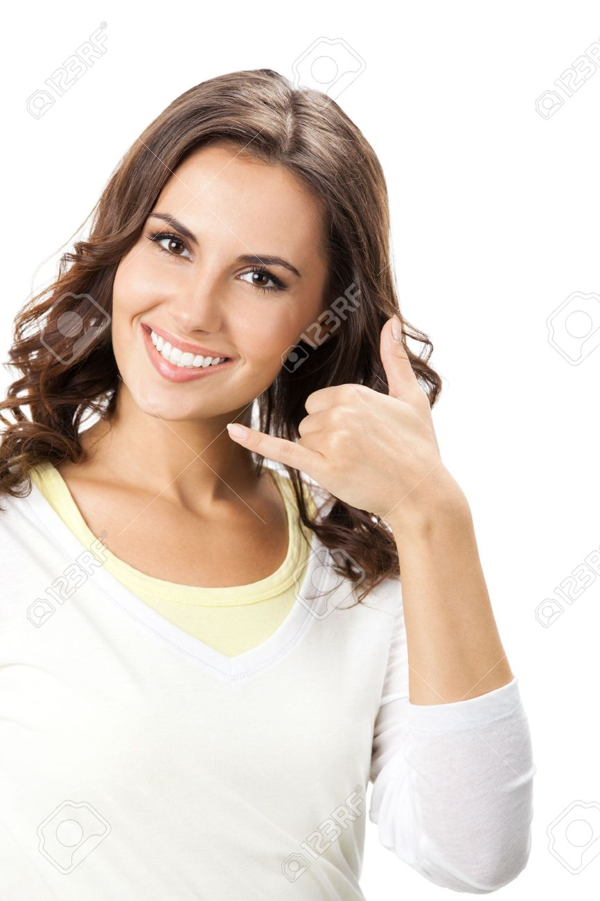 Young happy smiling beautiful woman showing call me gesture, isolated over white background Stock Photo - 17154495
