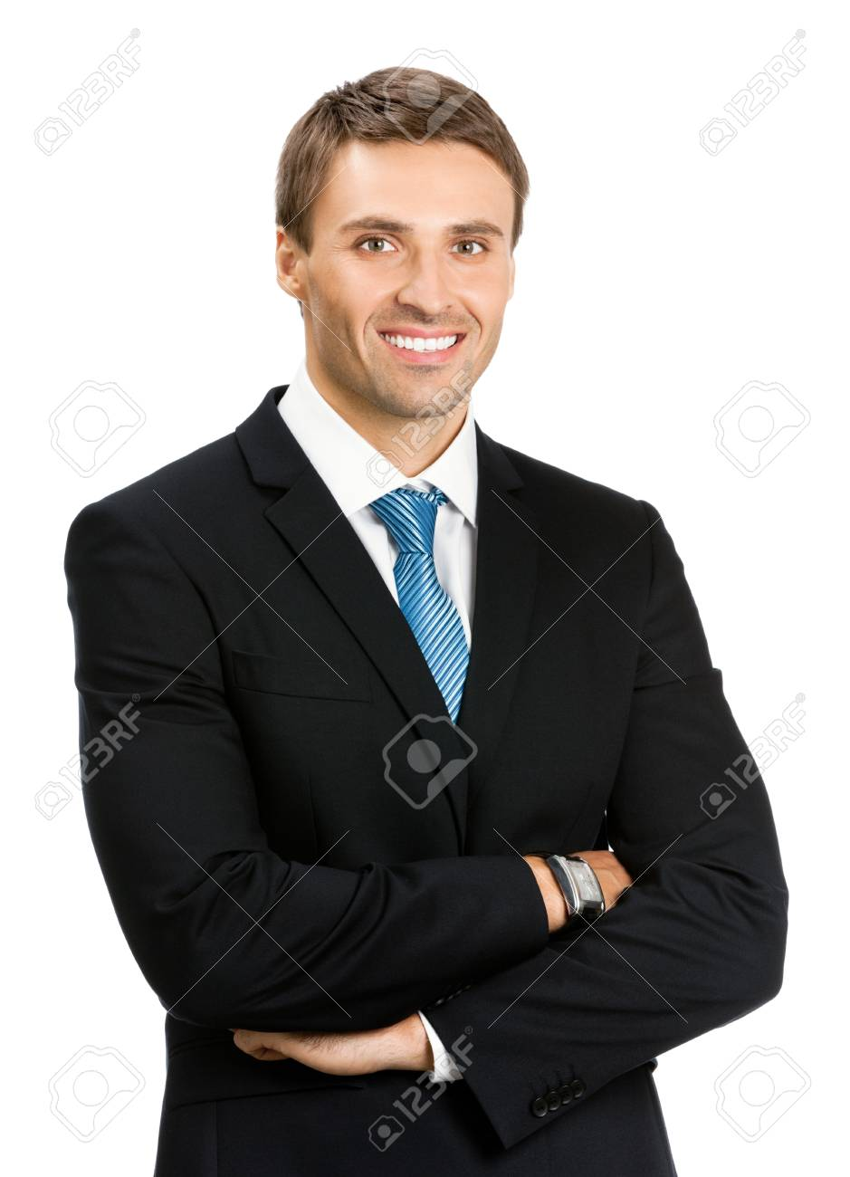 Portrait of happy smiling young business man, isolated over white background Stock Photo - 17154493