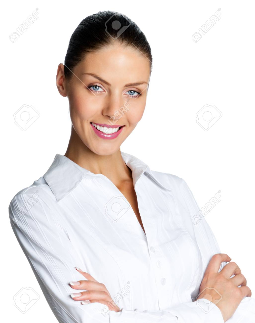 Cheerful smiling business woman, isolated over white background Stock Photo - 17903236