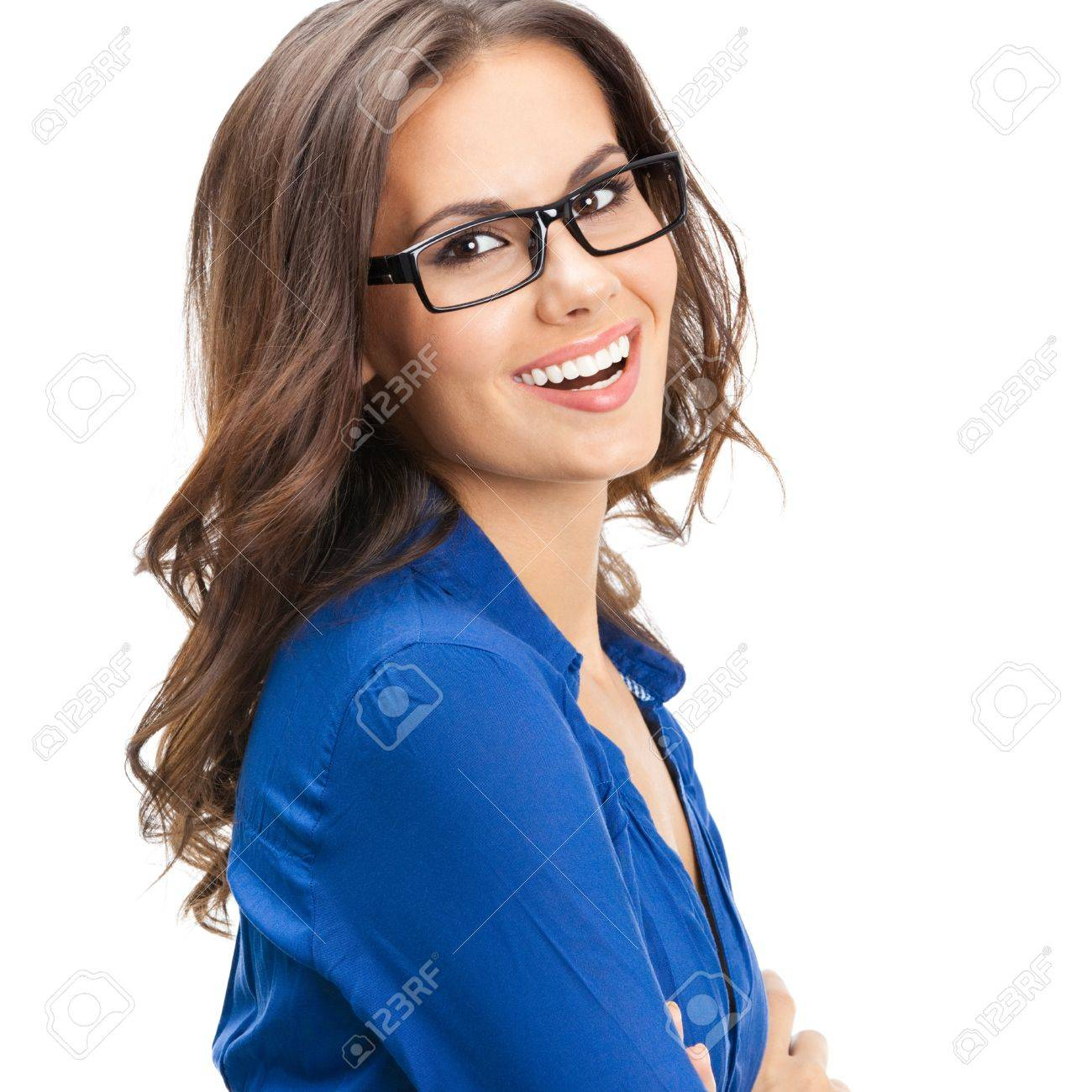 Portrait of happy smiling young business woman in glasses, isolated over white background Stock Photo - 18196030