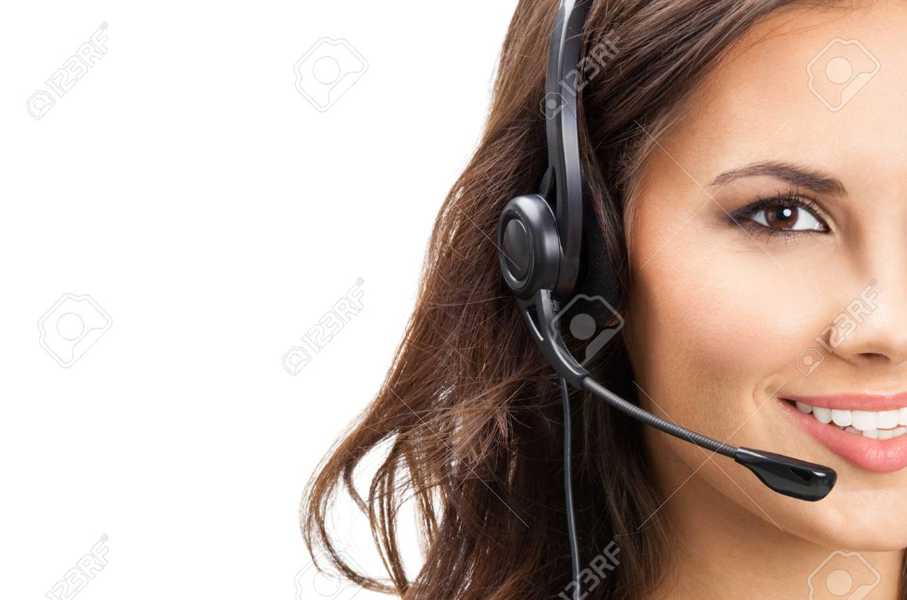 Portrait of happy smiling cheerful beautiful young support phone operator in headset, isolated over white background Stock Photo - 18209178