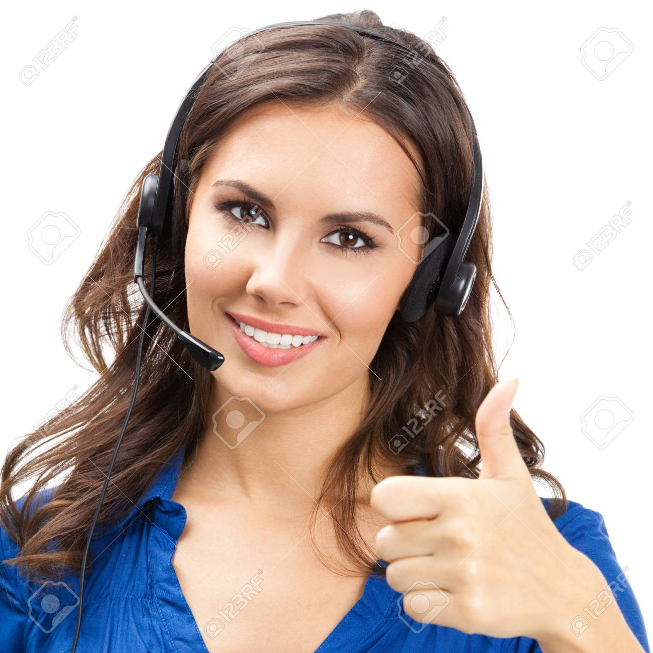 Portrait of happy smiling cheerful young support phone operator showing thumbs up gesture, isolated over white background Stock Photo - 18209180