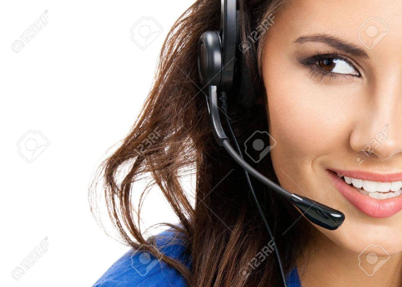 Portrait of happy smiling cheerful beautiful young support phone operator in headset, isolated over white background Stock Photo - 18209179