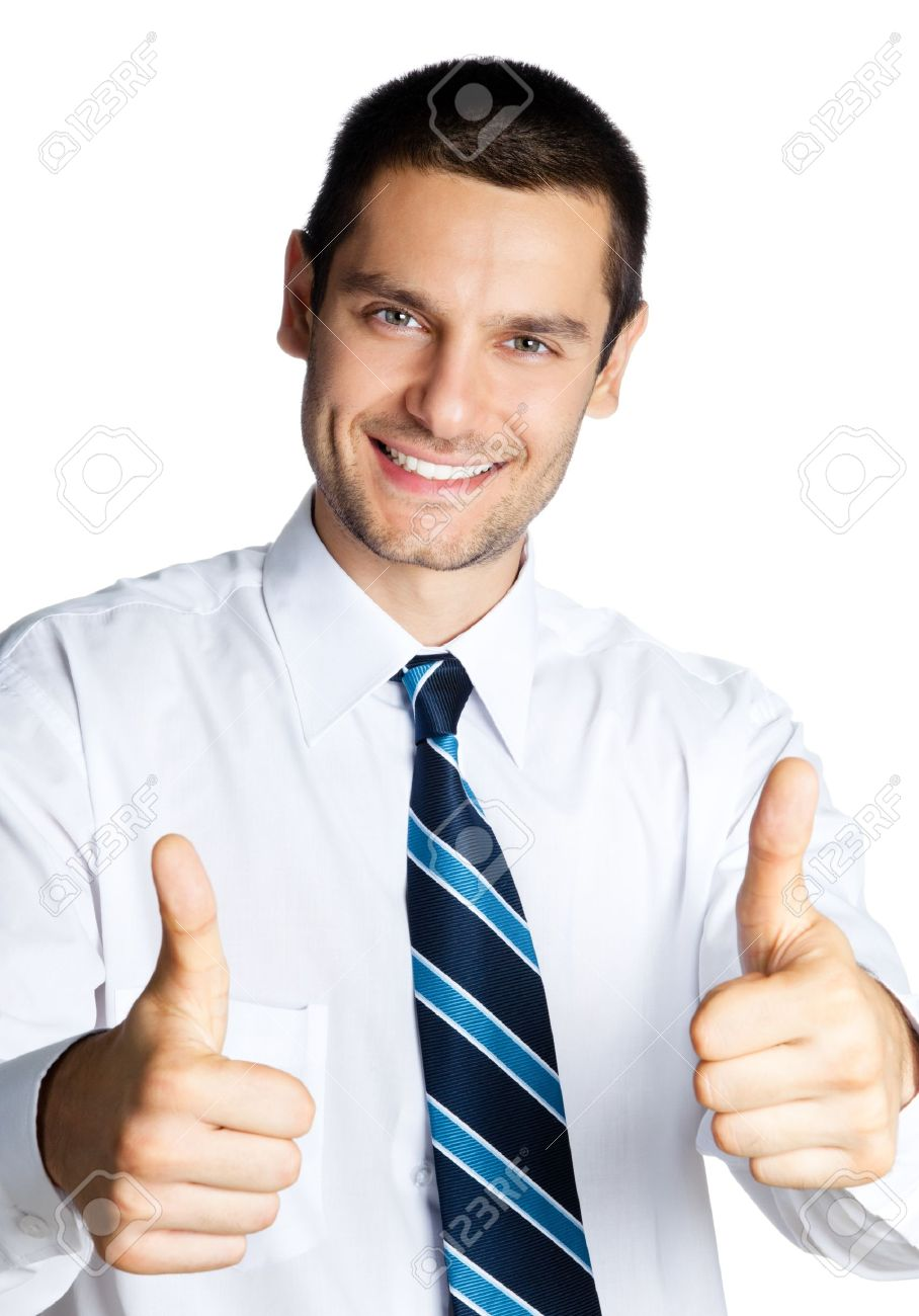 Happy smiling cheerful business man with thumbs up gesture, isolated over white background Stock Photo - 18917555