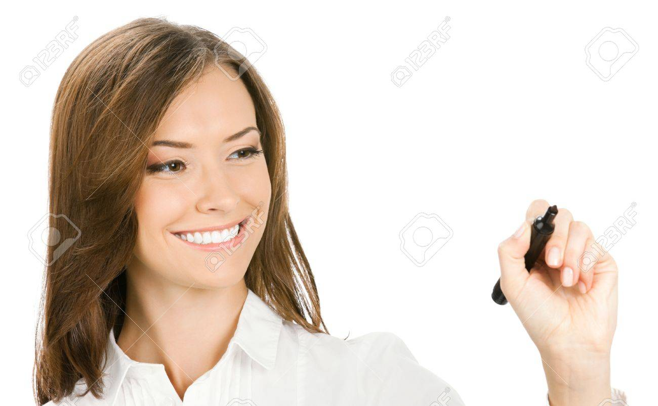 Portrait De Sourire Gai Jeune Femme D Affaires Ecrire Ou A Dessiner Sur L Ecran Avec Un Marqueur Noir Isole Sur Fond Blanc