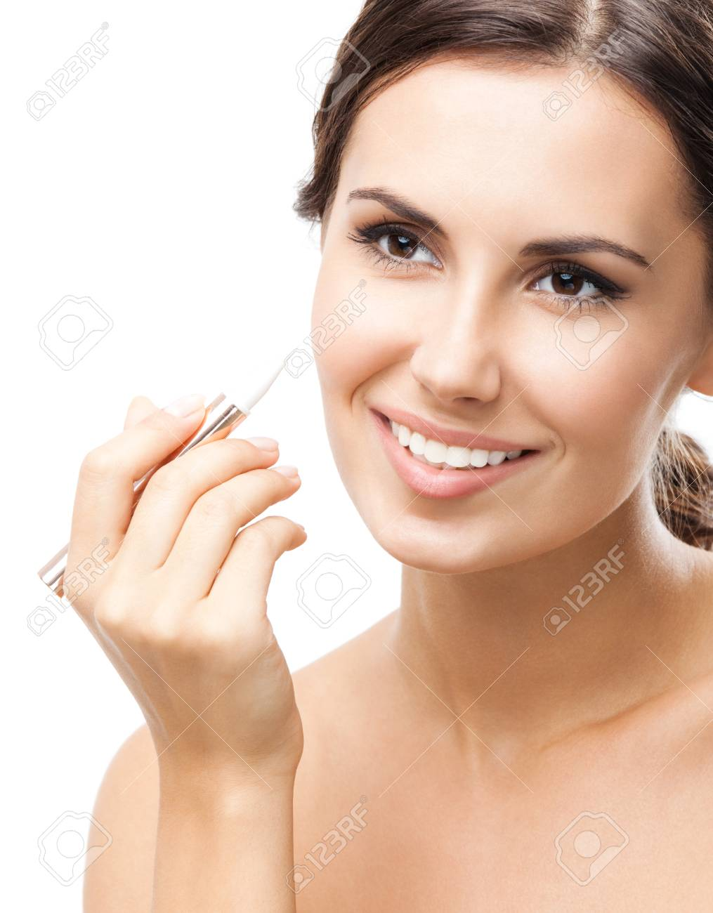 Portrait Of Beautiful Young Happy Smiling Woman Applying Concealer Face On Isolated Over White Background