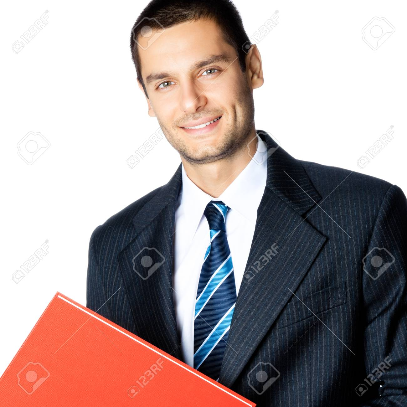 Portrait of happy smiling businessman with red folder, isolated on white background Stock Photo - 28356221