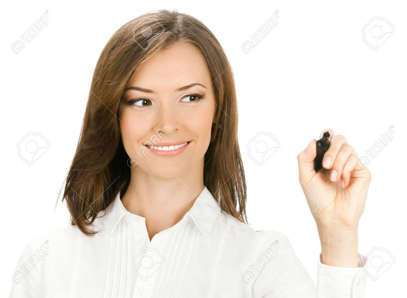 Sourire Heureux Joyeux Jeune Ecriture De Femme D Affaires Ou De Dessin Sur L Ecran Avec Un Marqueur Noir Isole Sur Fond Blanc