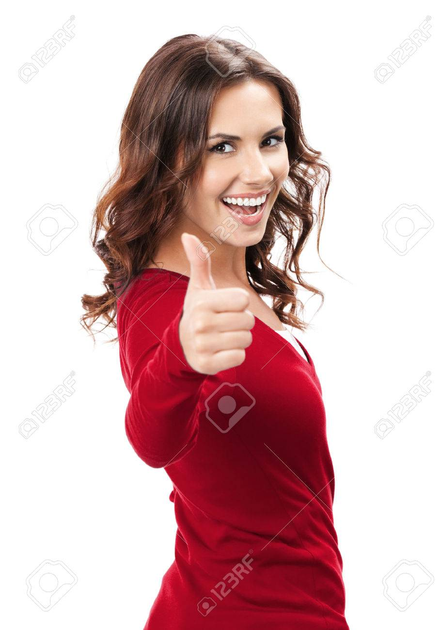 Happy smiling beautiful young brunette woman showing thumbs up gesture, isolated on white background - 41223975
