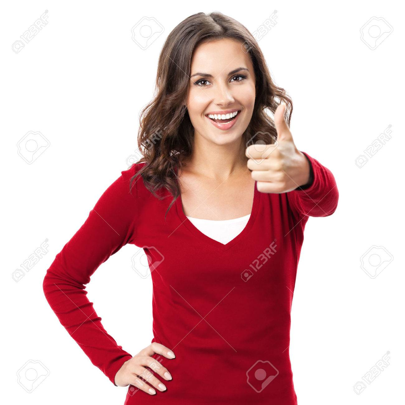 Happy smiling beautiful young brunette woman showing thumbs up gesture, isolated on white background Banque d'images - 41224596