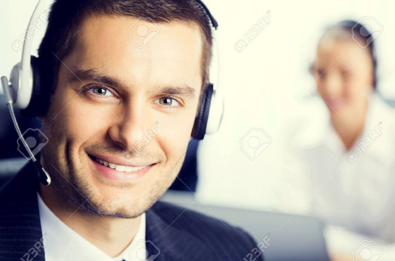 Two support phone operators at office, customer service concept - 46009296