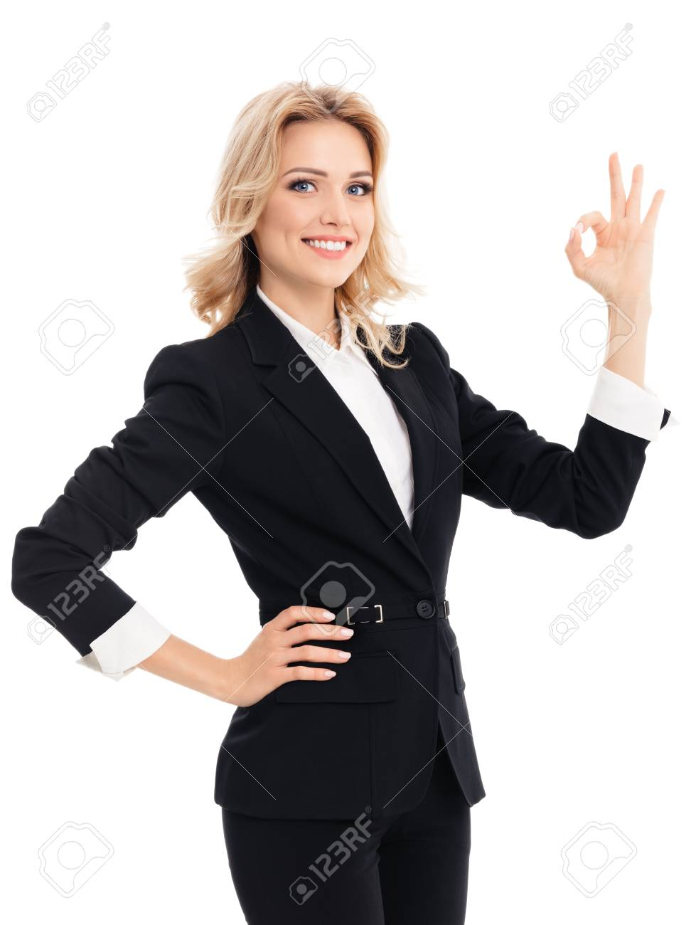 Happy Smiling Beautiful Young Businesswoman Showing Okay Hand