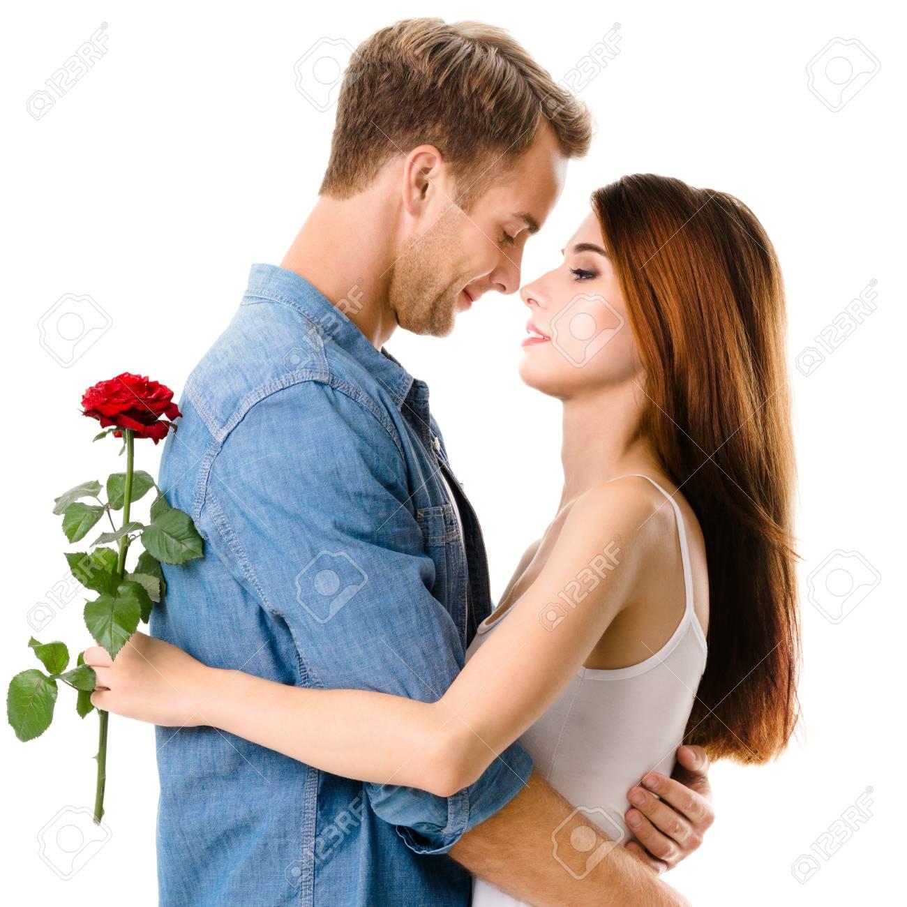 Cote Profil Jeune Etreindre Couple Heureux Avec Des Fleurs Pres
