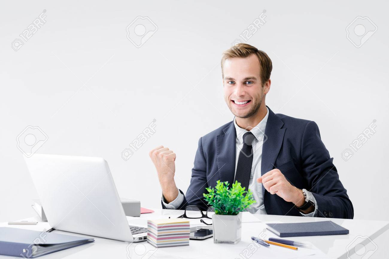 I Have Done It! Very Happy Businessman In Black Suit, Working With Laptop  Computer At Office. Success In Business, Job And Education Concept. Stock  Photo, Picture And Royalty Free Image. Image 76265956.