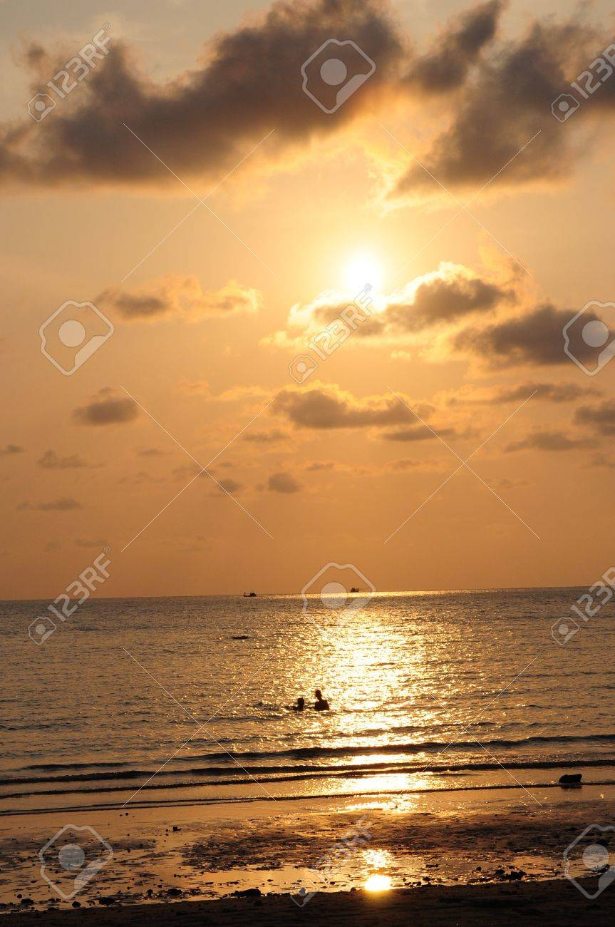 sunset in beach, thai Stock Photo - 14338254