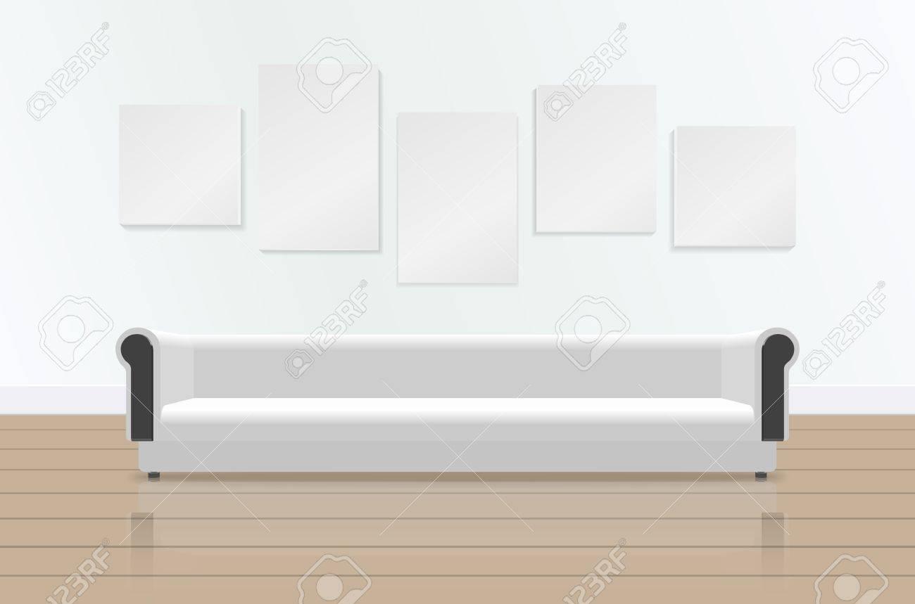 Realistisches Weißes Langes Weiches Sofa Mit Reflexion Auf Dem Boden ...