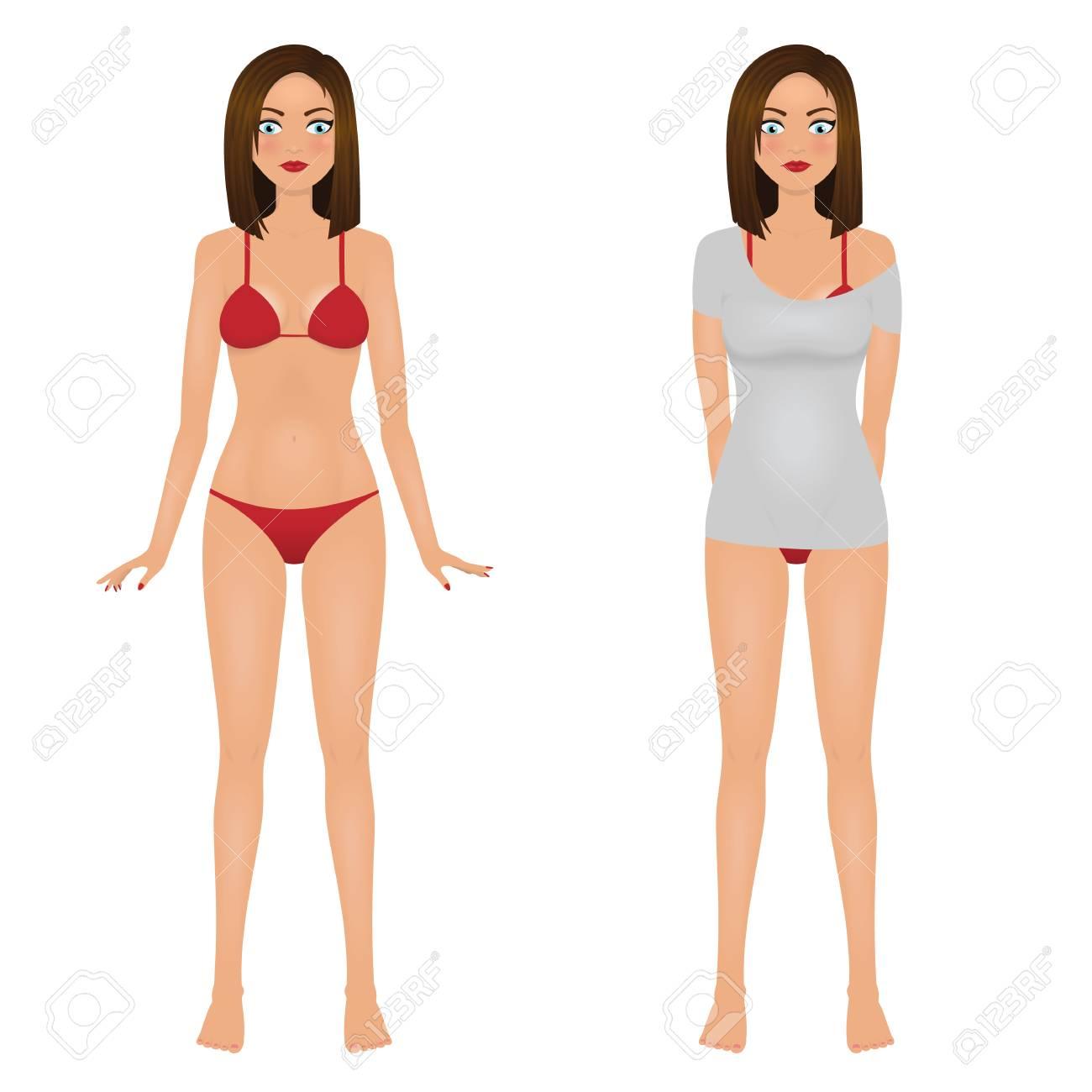efd08ed21ff0 Chica sexy en bikini rojo y mujer joven en camiseta gris. Ilustración de  vector aislado