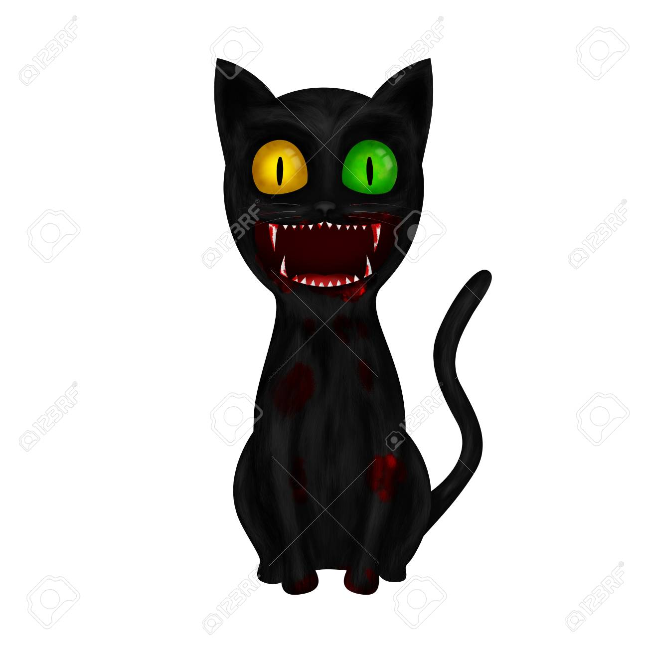 Scary Sitting Cartoon Black Cat In Blood Illustration Isolated