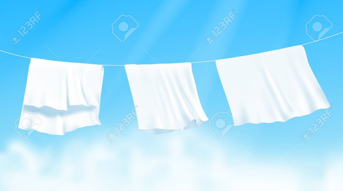 White sheets dried on a rope on the wind. Realistic vector illustration with blue sky and sunshine on background - 124941238