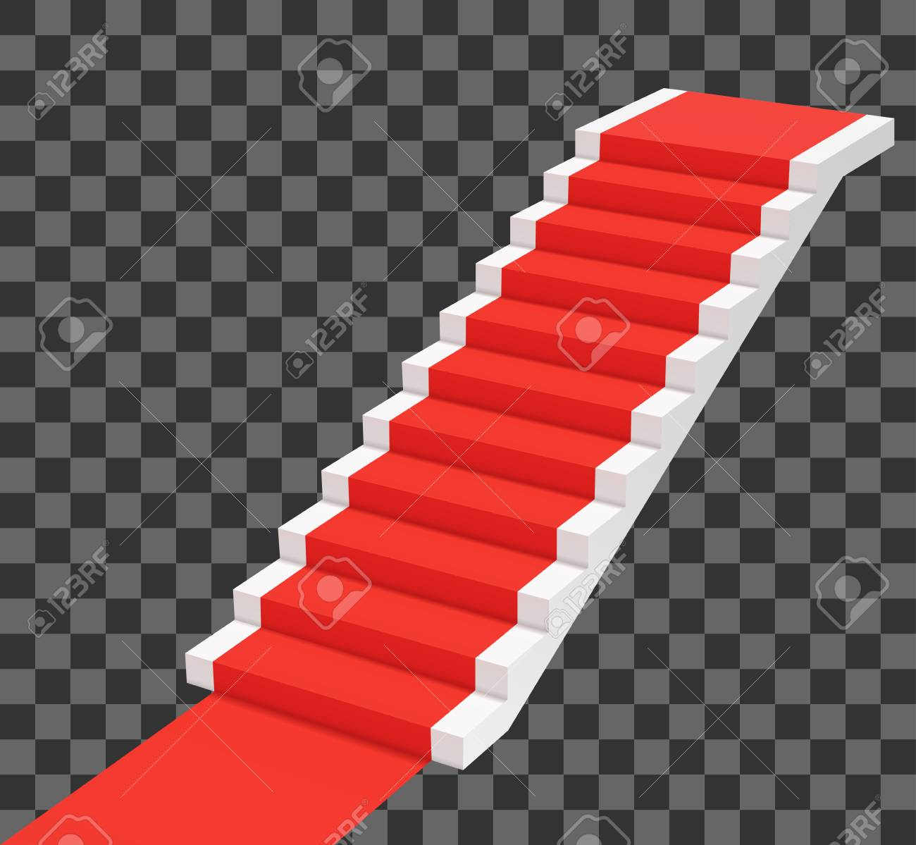 Red carpet on white stairs. Perspective view vector illustration - 122575355