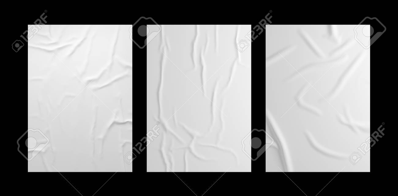 White wrinkled poster template set. Isolated glued paper mockup. - 124936982