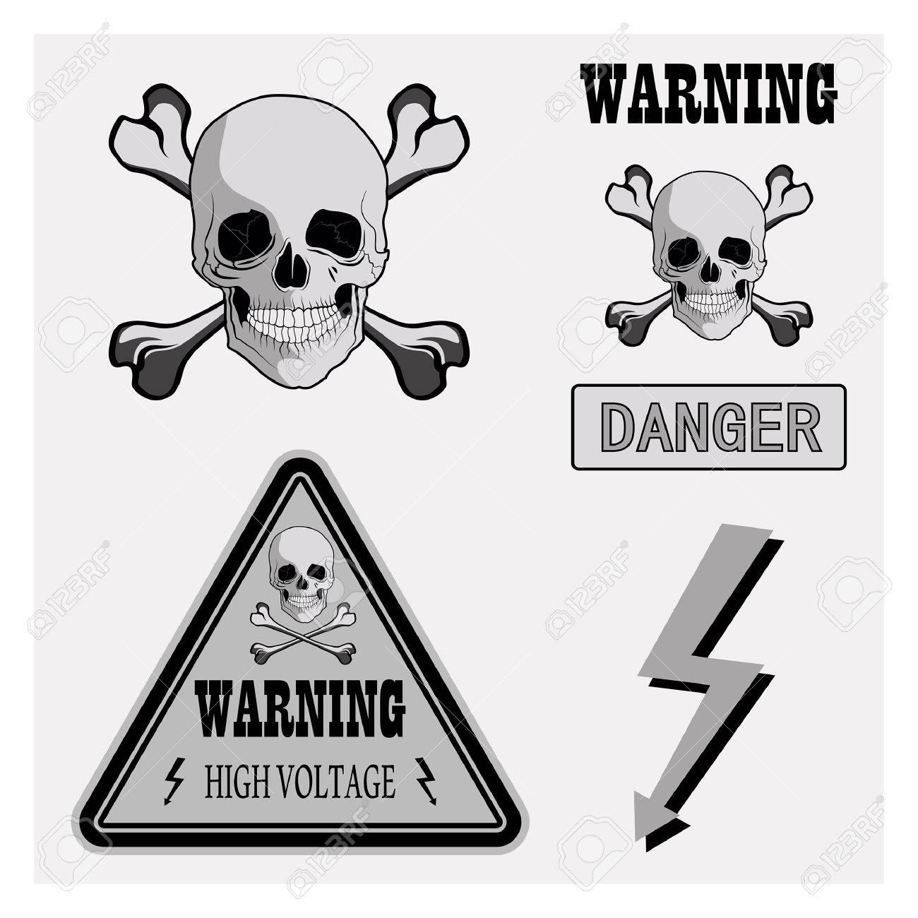 Warning Signs, Symbols. Danger, Skull, Crossbones, High Voltage ...