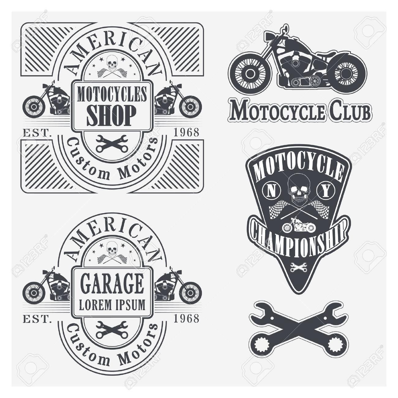 Set of vintage motorcycle labels, badges and design elements Stock Vector -  35394902