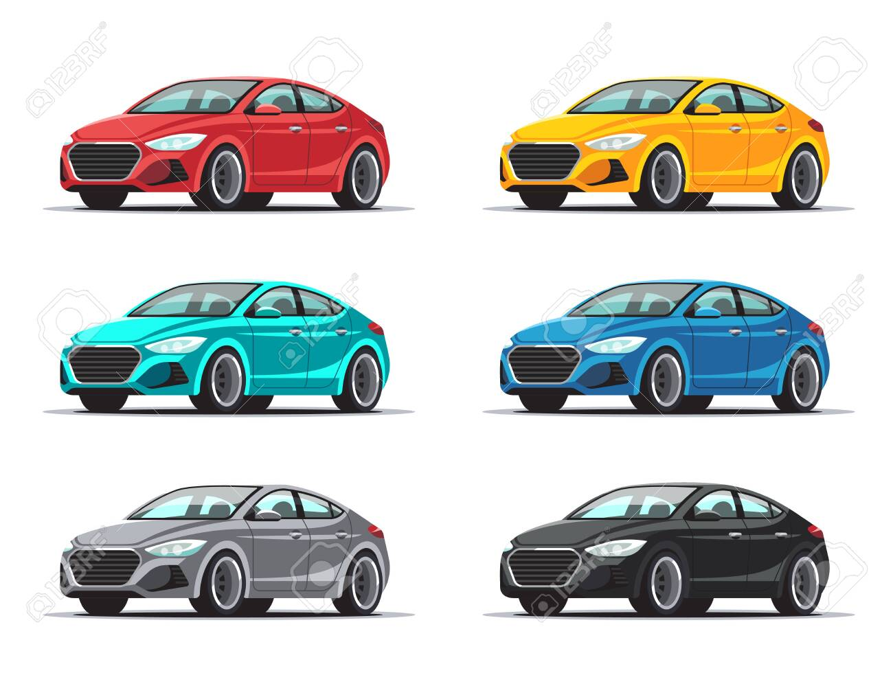 Set of cars. Collection sedan vehicles in a variety of colors. Vector illustration isolated on white background. - 141008525