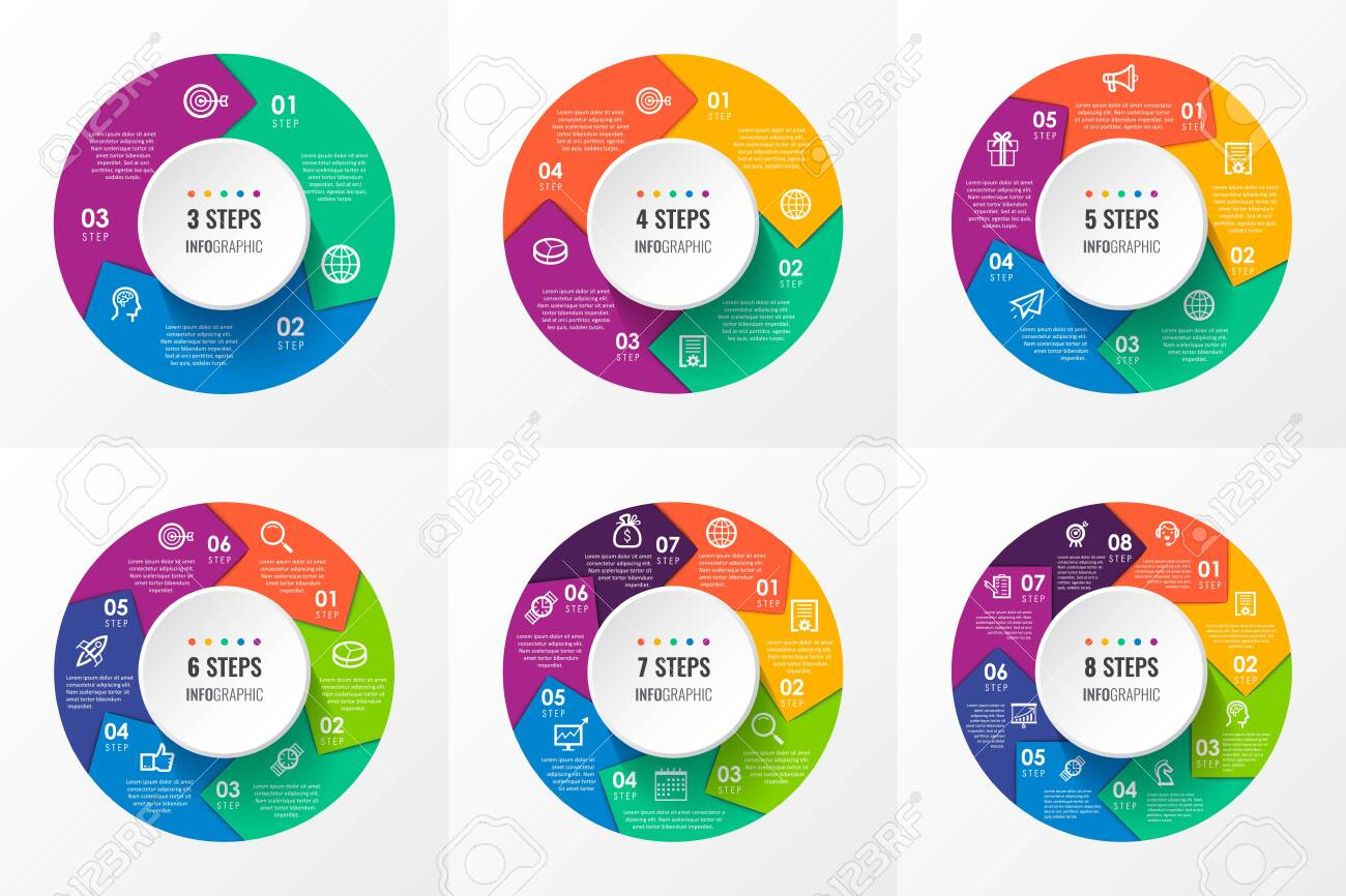 Vector Infographic circular arrows with icons and 3, 4, 5, 6, 7, 8 options or steps. Business concept. Can be used for presentations banner, workflow layout, process diagram, flow chart, info graph - 141241064