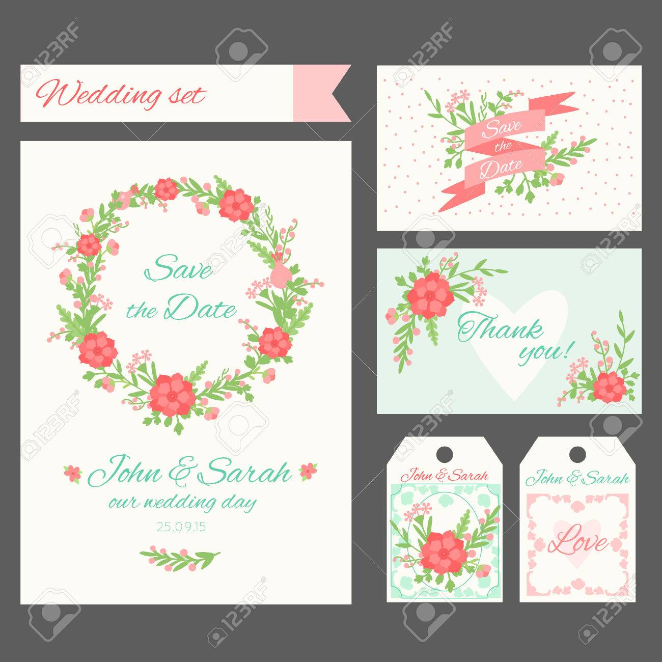A Set Of Templates Of Cards And Labels. You Can Use For Wedding ...